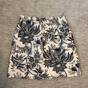 Navy and cream tweed skirt